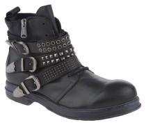 Boots, Leder, Schnallen, Nieten, Schwarz