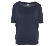 T-Shirt, uni, Rundhalsausschnitt, Fledermausärmel, Gummibund