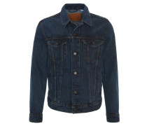 Jeans-Jacke, dezente Waschung, gerader Schnitt, Blau