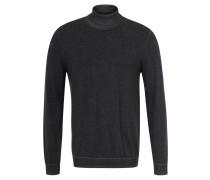 Pullover, Feinstrick, Rollkragen, Logo-Stickerei, Grau
