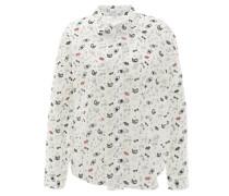 Hemdbluse, Baumwolle, Allover-Print, Weiß