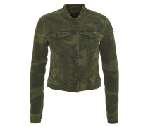 Jeansjacke, Slim Fit, Camouflage-Design, Destroyed-Look, Oliv