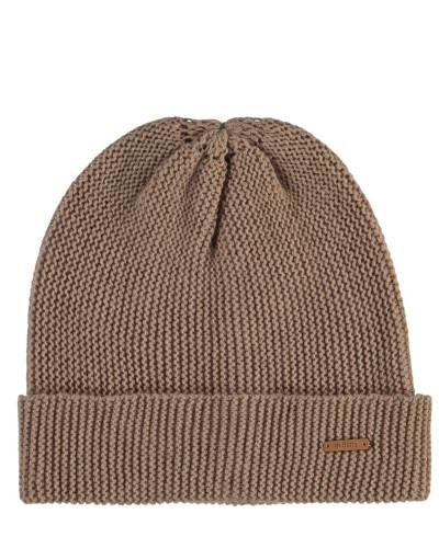 Mütze, Kaschmir-Woll-Mix, Strick, Umschlag, Patch