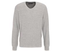 Pullover, Strick, meliert, V-Ausschnitt, Grau