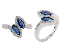 Damenring mit Diamanten und Saphire, Weissgold 585