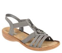 Sandalen, unifarben, elastische Riemchen, Applikation