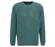 Pullover, meliert, Knopfleiste, Brusttasche, Grün