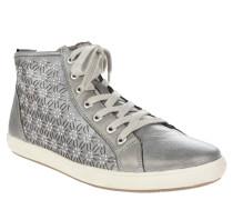 Sneaker, Blumenmuster, Nieten, Wechselfußbett, Silber