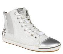 High-Top-Sneaker, Logo-Stitching, umgeklappte Zunge, Weiß