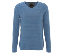 Pullover, Baumwolle, V-Ausschnitt, strukturiert, Bruststickerei, Blau