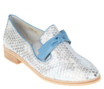 Slipper, Animal-Look, Glitzer, Schleife, Blau