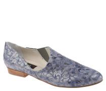 Slipper, florales Muster, Leder, Stretch-Einsatz, Blau
