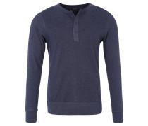 Langarmshirt, Slim Fit, Henley-Ausschnitt, Blau
