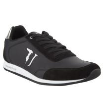 Sneaker, Leder-Akzente, Logo-Stickerei, Schwarz