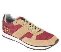 Sneaker, Lederbesatz, Logo-Stickerei, Gummisohle