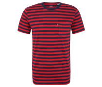 T-Shirt, gestreift, Brusttasche, Baumwolle, Schwarz