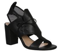 Sandaletten, Mesh, Schnürung, Blockabsatz, Schwarz