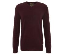 Pullover, V-Ausschnitt, Baumwolle, Rot
