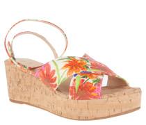 Sandaletten, Leder, florales Muster, Keilabsatz, Kork-Optik, Rot