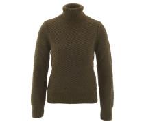 Pullover, Strick, Streifen-Struktur, Rollkragen, Oliv