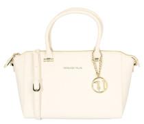Handtasche, Saffiano-Optik, Emblem, Anhänger, Rosa