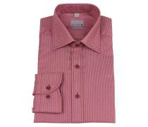 Businesshemd, geometrisches Muster, bügelfrei, Rot