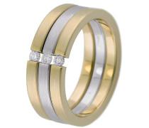 Spannring Bicolor Gold 585 mit Diamant