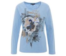 Langarmshirt, floraler Front-Print, Strass-Applikationen