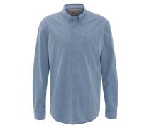 Freizeithemd, Regular Fit, leicht gemustert, Brusttasche, Blau