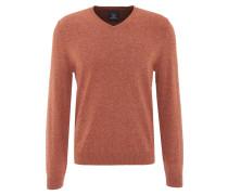 Pullover, meliert, V-Ausschnitt, Emblem, Rippbündchen, Orange