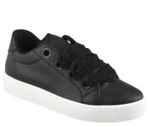 Sneaker, Ziernähte, Marken-Logo, Spitzen-Schnürsenkel, Schwarz