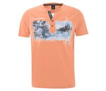 T-Shirt, Print, kurze Knopfleiste, Orange