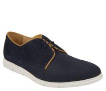 Sneaker, strukturiertes Leder, kontrastfarbene Nähte, Blau