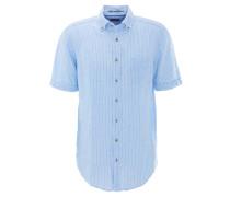 Freizeithemd, Kurzarm, Leinen, gestreift, Blau