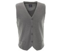 Strickweste, reine Baumwolle, V-Ausschnitt, uni, Grau