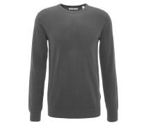 Pullover, Rippbündchen, Baumwolle, Rundhals, Grau