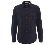 Freizeithemd, Modern Fit, Allover-Stickerei, Brusttasche, Blau