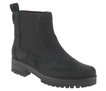 Chelsea-Boots, Leder, Profilsohle, Schwarz
