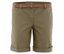 Bermuda-Shorts, Chino-Stil, uni, Kunstleder-Gürtel, Grün