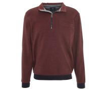 Sweatshirt, meliert, Kontrastbund, Rot