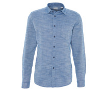 Freizeithemd, Regular Fit, meliert, Kent-Kragen, Brusttasche, Emblem, Blau