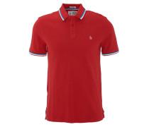 Poloshirt, einfarbiges Design, Logo-Stickerei, Rot