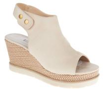 Sandaletten, Veloursleder-Optik, Keilabsatz, Bast-Design, Beige