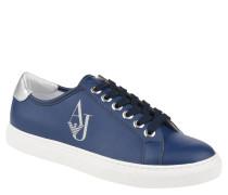 Sneaker, breite Sohle, Glitzer-Logo, Blau