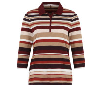 Shirt, Polokragen, 3/4-Ärmel, Streifenmuster