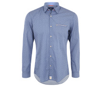 Freizeithemd, Modern Fit, gemustert, Blau