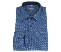 Businesshemd, geometrisches Muster, Brusttasche, Blau