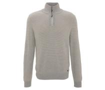 Pullover, zweifarbig, Klappkragen, Reißverschluss, große Größen, Beige