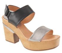 "Sandaletten ""Metalizado"", Leder, Klettverschluss, Holz-Optik, Silber"