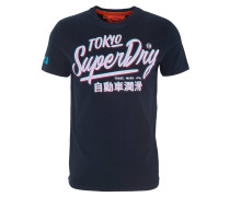 T-Shirt, Rundhalsausschnitt, Baumwolle, Print, Blau